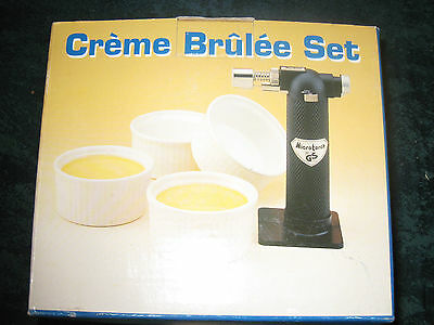 Creme Brulee Set With Torch And 4 Ramekin Dishes - New