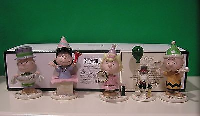LENOX PEANUTS HAPPY NEW YEAR 5 piece Set NEW in BOX with COA Snoopy Linus Lucy