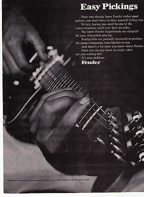 "1970 Fender Guitars ""Easy Pickings"" Vintage Print Advertisement"