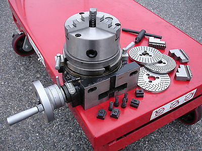 "6""/160mm Vertical & Horizontal Rotary Table, 3-Jaw Chuck, 3-Dividing Plates Kit"