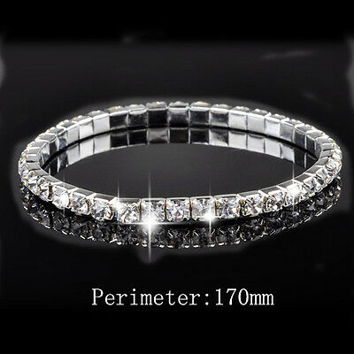 Schmuck Jewelry 18K White Gold Plated One-Row Tennis Crystal Bracelet