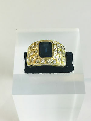Solid 18ct yellow gold sapphire and diamond ring 13g Natural Stones Value $6525