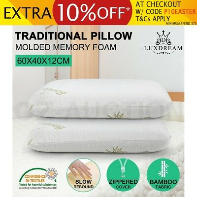 2 x Queen Size BAMBOO Memory Foam Pillow Fabric Cover w/ Zip Off Classic Molded