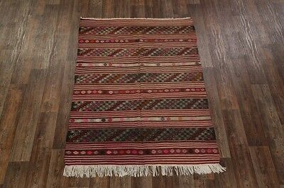 Antique Hand Woven Tribal 5x7 Kilim Shiraz Persian Oriental Area Rug Wool