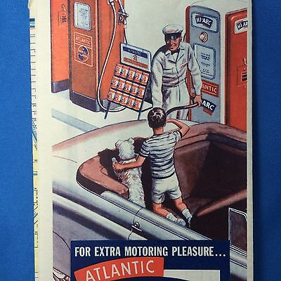1950s Vintage Hi-ARC GASOLINE & ATLANTIC OIL Miami Florida Road Map