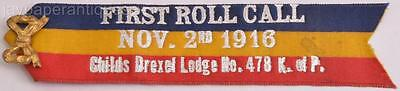 1916 Knights of Pythias Ribbon Medal Pin First Roll Call Childs Drexel Lodge 478