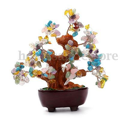 6 Inch Chinese Feng Shui Natural Colourful Crystal Money wealth Lucky Luck Tree