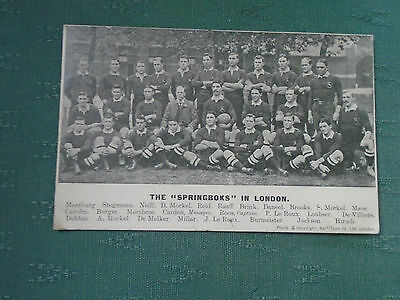 Rare 1907 The Springboks In London - Rugby Union Team Postcard Posted Transvaal