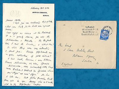 1934 Letter From Wife Of British Ambassador In Germany Sir Eric Phipps Berlin
