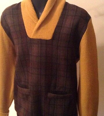 VINTAGE 50's ROB SCOT PULLOVER SHAWL COLLAR WOOL PLAID SWEATER S EXC!