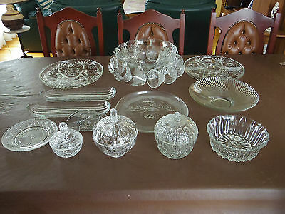 Estate lot of retro vintage glass / crystal table ware. Punch set, candy bowls