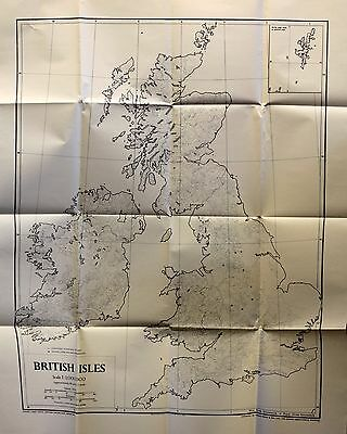 Very Large Scale Vintage 1950s? Map British Isles Contours Wall Chart 1:1000,000