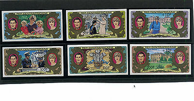 1981-Royal Wedding-Central African Rep-Set Of 6-Surcharged-Imperforate-Mnh