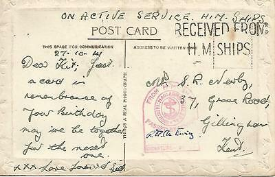 TOMB CENSOR ON ACTIVE SERVICE 1940's POSTCARD TO KENT  REF 321