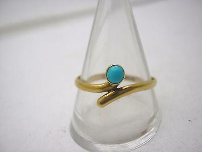 Victorian Marked 15ct Gold Natural Turquoise Solitaire Ring size U