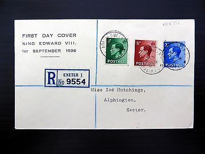GB 1936 Ed.VIII (3) on RARE Registered Souvenir FDC with Queen St. CDS FP9277