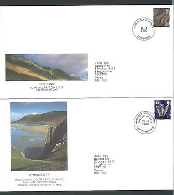 Great Britain 2000 Wales & Scotland 65p FDC's