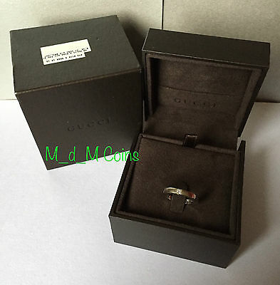 GUCCI 18ct White Gold PRINCESS DIAMOND SOLITAIRE BAND RING: Size M / Weight 7.6g