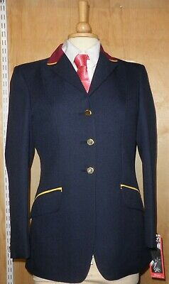 Ladies Mears Streetly Navy Show Jacket with red velvet collar + Gold Trim