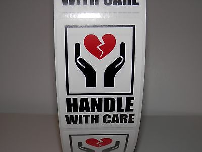 FRAGILE HANDLE WITH CARE INTL SYMBOL WITH HEART 2x3 Warning Sticker Label 250/rl