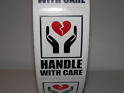 HANDLE WITH CARE INTL SYMBOL WITH HEART FRAGILE 2x3 Warning Sticker Label 250/rl