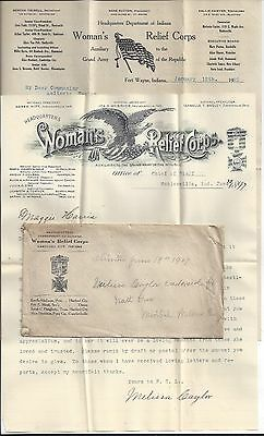 1897 - 1922 INDIANA WRC WOMEN'S RELIEF CORP ENVELOPE of PAPERWORK/LETTERS