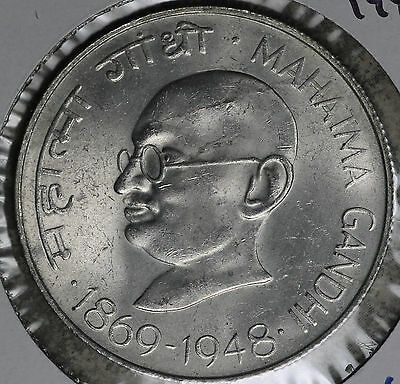 "Beautiful Uncirculated India ""Gandhi"" 1948 10 Rupees Silver Coin!!"