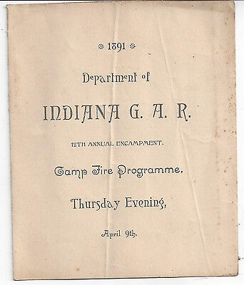 1891 DEPT. OF INDIANA G.A.R. 12th ANNUAL ENCAMPMENT - CAMP FIRE PROGRAM