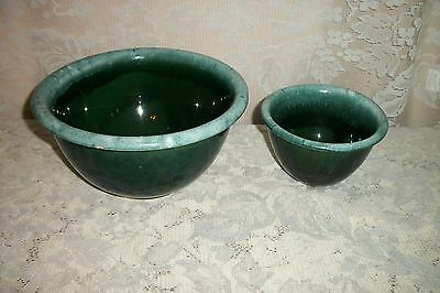 TWO Vintage USA Oven Proof Green Drip Glaze Pottery Mixing Bowls