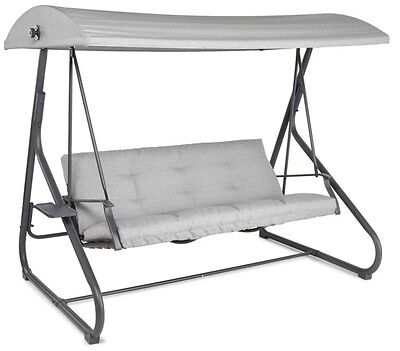 Blooma Cranbrook 3 Seater Steel Garden Outside Swing Bench with Canopy, F-3663