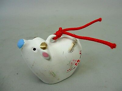 DR23 Japanese Clay Bell Vintage Hand Painted Cow Lucky Charm Ceramic Dorei