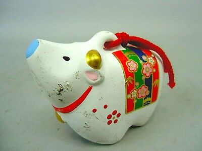 DR25 Japanese Clay Bell Vintage Hand Painted Cow Zodiac Lucky Ceramic Dorei