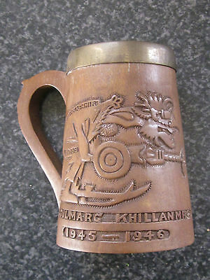 """round The Bend Ski Club"" Kashmir 1945-1946 Wood/copper Lined Tankard. India."