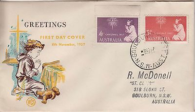 Australia 1957 Christmas WCS set stamps  First Day cover.Addressed Goulburn West