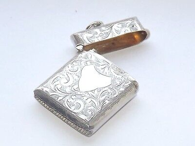 Lovely Antique Hallmarked Solid Silver Sterling Silver Vesta Case Chester 1911