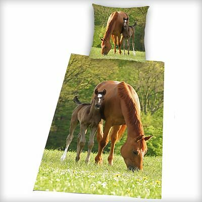 Brown Horse & Foal Duvet Cover New Bedding 100% Cotton Quilt Pony