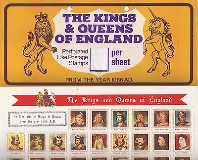 UK Kings & Queens of England sheet 42 stickers,perforated like postage stamps