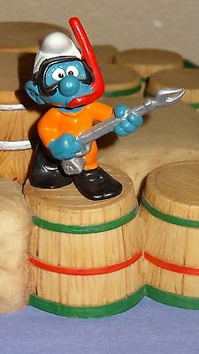 Smurfs Frogman Scuba Diver Smurf Rare Vintage Awesome Figure From West Germany