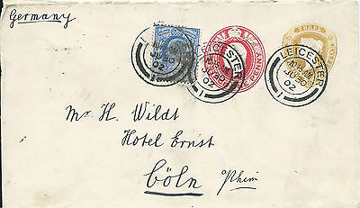 GB 1902 3.1/2d QV Embossed Cover Uprated KEVII 1d Embossed+2.1/2d from Leicester