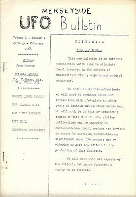 FIRST ISSUE: Merseyside UFO Bulletin Vol. 1, No. 1. January 1968 (Magonia)