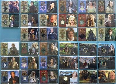 Lord of The Rings LOTR TOPPS TRILOGY FOTR TTT ROTK not signed- ALL Costume cards