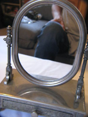Nice Vintage Antique Silver-Tone Flip Mirror Photo Jewelry Makeup Box Drawer
