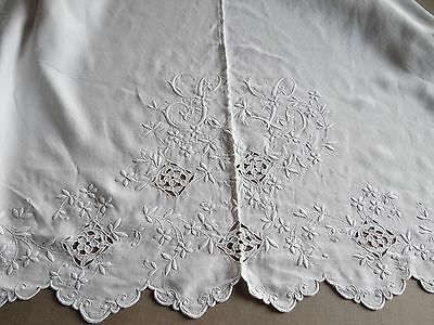 Antique French Linen Sheet Pure Linen White Embroidery Large Monogram SL