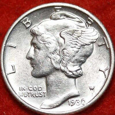 Uncirculated 1930 Philadelphia Mint Silver Mercury Dime Free Shipping