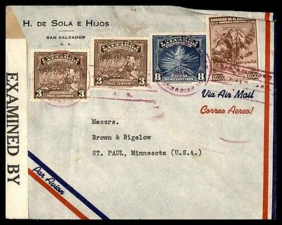 El Salvador Censored Airmail Cover To St. Paul Minnesota USA Commercial