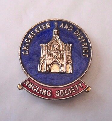 Vintage Chichester And District Angling Society Members Enamel Pin Badge