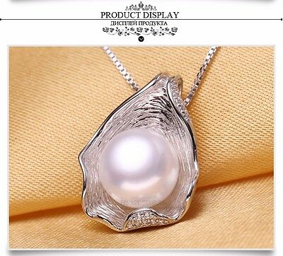 925 Sterling Silver 10MM Cultured White Freshwater Pearl Necklace In Shell