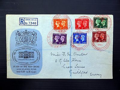 GB 1940 Stamp Centenary Red Cross FDC with Red Cancellation FP9286