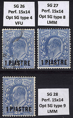 Br Levant 1911 1pi on GB 2.5d SG 26-28 Scott 39 x3vars, LMM/MLH* Cat £114($184)