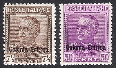 Eritrea Italy Occupation 1928 7.5-50c Emmanuel Sc 105-106 SG123&125 VLMM Cat$104